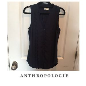 Anthropologie Meadow Rue Scallop Shell Top